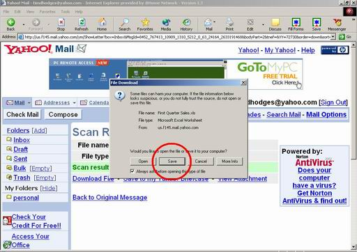 download yahoo email message